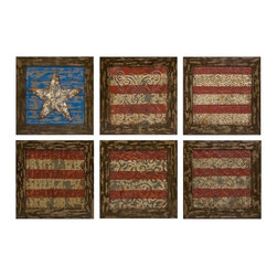 """IMAX CORPORATION - Glory American Flag Wall Decor- Set Of 6 - Reminiscent of tin ceiling tiles, this set of six aged frames encase stamped metal featuring antiqued finishes and a basic rendering of Old Glory. Set of 6 in various sizes measuring around 12.6""""L x 7.48""""W x 12.99""""H each. Shop home furnishings, decor, and accessories from Posh Urban Furnishings. Beautiful, stylish furniture and decor that will brighten your home instantly. Shop modern, traditional, vintage, and world designs."""