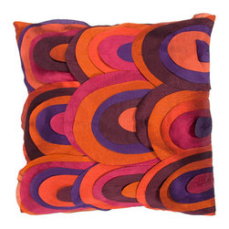 Jaipur - Portabella Purple and Orange 18-Inch Square Pillow - - Inspired by the bohemian European craft techniques of the 60�s this funky range of pillows in poly dupione use rich jewel tones expressed in a highly textural and fun way. Perfect for a touch of retro glamour in your home  - Cleaning and Care: Remove the throw pillow's cover if it is removable. Wash the cover separately from the pillow. Pre-treat badly soiled or stained areas on the pillow cover with a color-safe prewash spray. Rub the spray into the stain with a damp sponge. Wash the pillow cover or the whole pillow on a gentle-wash cycle in warm water with a very mild detergent. Detergent for delicate fabrics or baby clothes is usually suitable. Remove the pillow or pillow cover as soon as the washing machine has ended the cycle and has shut off. Hang the pillow or cover up to dry in a well-ventilated area. If the care label specifies that the item is dryer-safe place the pillow or pillow cover in the dryer and tumble dry on low heat. Fluff the pillow once it is dry in order to maintain its form. Don't use the pillow until it is completely dry. Damp pillows will attract dirt more easily  - Construction: Handmade  - It is Sustainable Jaipur - PLC100106