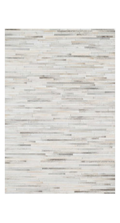 "Loloi Rugs - Loloi Rugs Promenade Collection - Ivory, 3'-6"" x 5'-6"" - Hand stitched in India of 100% authentic cowhide, Promenade is a contemporary version of the timeless cowhide rug. The modern collection offers patterns that range in graphic designs with a strong contrast of light and dark hides. And the durable cowhide fiber makes Promenade ideal for your most frequented rooms."