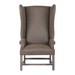 Bespoke - Milo Brown Wing Chair - Classic sophistication takes center stage with the Milo wing chair. Exuding a stately aesthetic, this high back seat rests atop a beechwood frame and showcases brown linen upholstery for rich texture. Simple nailhead trim provides a unique finishing touch. Made with feather-down cushions and a poly foam core. Professional cleaning recommended. Cancellations must be made within 24 hours of order placement.
