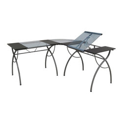 Studio Designs - Catalina Split Top LS Workcenter - Top Angle Adjustment up to 30 Degrees. Can be used as a Drafting Table and a Light Table. 20 in. Slide Up Pencil Ledge. Corner Connector: 23.5 in. x 23.5 in. . Tilt Angle can be attached to Left or Right Side. Powder Coated Steel for Durability. Tempered Blue Safety Glass Top. (8)Floor Levelers for Stability. Overall Dimensions: 63.5 in. W x 63.5 in. D x 29.5 in. H - 41.25 in. H. Main Work Surface consists of two 10 in. W x 23.5 in. D flat panels and one 20 in. W x 23.25 in. D glass top for each sideThe Catalina Split Top LS Workcenter by Studio Designs offers an open, spacious place for you to create. This simple yet elegantly designed desk features two tables combined by a corner connector for one continuous work space. Both can be used as drafting or light tables. One table features a top angle adjustment ranging from 0 to 35 degrees. Tables attach to both the left and right side of the corner connector, giving you placement options during assembly. The Workcenter also includes a 20'' pencil ledge that slides up and locks into place when needed and floor levelers for stability on any surface. Made of durable powder-coated steel and tempered blue safety glass.
