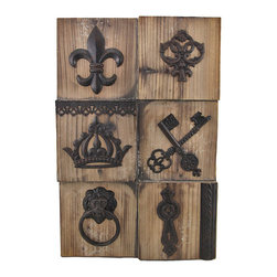 Fleur de Lis Wooden Wall Plaque with Metal Accents - This wooden wall plaque adds a unique accent to your home, office, or restaurant. It features cast iron accents on raised and recessed wooden squares for a neat effect. It measures 21 inches tall, 14 1/4 inches wide, 1 1/2 inches deep, and easily mounts to the wall by the 2 picture hangers on the back. This piece is sure to start a conversation, and makes a great housewarming gift.