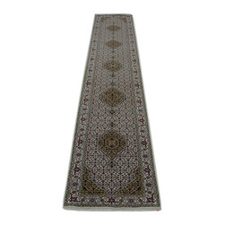 1800-Get-A-Rug - Tabriz Mahi Oriental Rug Runner Hand Knotted Rug Wool and Silk Sh14170 - About Wool Pile
