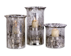 Mercury Glass and Iron Pillar Candleholders - Set of 3 - *Mercury glass hurricanes with iron candle stands bring beauty and ambiance to your room year round.