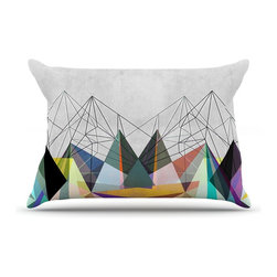 """Kess InHouse - Mareike Boehmer """"Colorflash 3X"""" Grey Rainbow Pillow Case, King (36"""" x 20"""") - This pillowcase, is just as bunny soft as the Kess InHouse duvet. It's made of microfiber velvety fleece. This machine washable fleece pillow case is the perfect accent to any duvet. Be your Bed's Curator."""