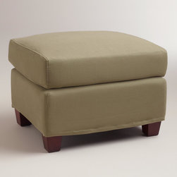 World Market - Sage Luxe Ottoman Slipcover - Refresh your décor and dress your Luxe Ottoman in our wonderfully neutral Sage Luxe Ottoman Slipcover, designed to fit like a glove. At this affordable price, you can keep one on the ottoman and one in your linen closet for a handy way to manage life's little spills.