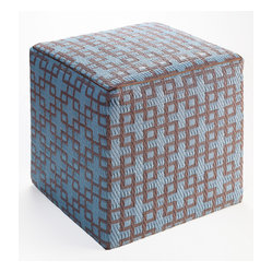 Rheinsberg Pouf, Powder Blue & Warm Taupe