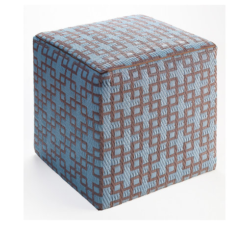 Fab Habitat - Rheinsberg Pouf, Powder Blue & Warm Taupe - Scatter these handy cubes indoors or out as extra seats or side tables. They're handmade from recycled polypropylene and filled with polystyrene, for long-lasting comfort and color retention. The chic Chinese lattice design adds an exotic touch to the pool, patio or playroom, and the cubes stack for easy storage.