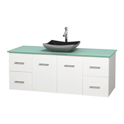 "Wyndham Collection - Centra 60"" White Single Vanity, Green Glass Top, Altair Black Granite Sink - Simplicity and elegance combine in the perfect lines of the Centra vanity by the Wyndham Collection. If cutting-edge contemporary design is your style then the Centra vanity is for you - modern, chic and built to last a lifetime. Available with green glass, pure white man-made stone, ivory marble or white carrera marble counters, with stunning vessel or undermount sink(s) and matching mirror(s). Featuring soft close door hinges, drawer glides, and meticulously finished with brushed chrome hardware. The attention to detail on this beautiful vanity is second to none."