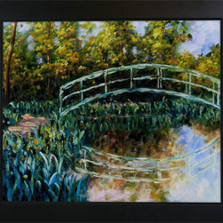 "overstockArt.com - Monet - The Water-Lily Pond, Water Irises Oil Painting - 20"" x 24"" Oil Painting On Canvas Easily recognizable, The Water-Lily Pond, Water Irises by Claude Monet has been carefully redone to near perfection with color and brush stroke detailing. The Water Lilies painting is actually a series of 250 oil paintings by Monet. They depict Monet's garden in Giverny and were the main subjects of his paintings later in his career. Monet, a French Impressionist, was born in Paris is 1840, and pursued his passion for painting from the start befriending fellow Impressionist artists. The outdoors clearly inspired Monet to take most of his subject matter from nature's beauty. His use of realistic colors and attention to detail still inspire painters today. This beautifully reproduced painting will work in many rooms in your home. Order it today and start your own collection of Monet masterpieces."