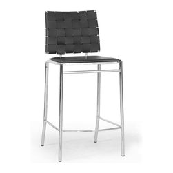 Baxton Studio - Baxton Studio Vittoria Black Leather Modern Counter Stool (Set of 2) - Add stylish seating to your kitchen at home or use our Vittoria Modern Counter Stool as the perfect leather bar furniture or restaurant bar stool. Durable black bonded leather on the seat is smooth and is accented with contrasting cream stitching. Conversely, the leather on the backrest is intricately woven.  Light foam padding adds additional comfort. The dependable steel frame is beautifully finished with high-shine chrome plating and tipped with non-marking feet.  The Vittoria Stool is fully assembled and is made in China.  To clean, wipe with a damp cloth.  Also available (sold separately) are matching bar height stools and each is also offered in brown leather.  Dimensions: 16.25 inches wide x 15.25inches deepx 37.125 inches height, seat height: 26 inches