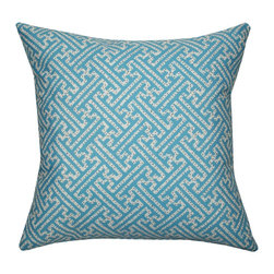 Divine Designs - Aqua Geo Dot Indoor/Outdoor Pillow - This geometric pattern is sure to bring elegance with a global vibe to your backyard