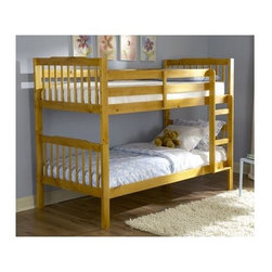 Homelegance - The Todd Bunk Bed in Pine Finish - Note: ivgStores Does not offer assembly on loft beds or bunk beds