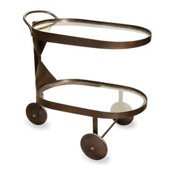 Castra Serving Cart - Metal - Subtly accented with a pared-down hourglass silhouette uniting its double glass shelves, the Castra Metal Serving Cart is a useful wheeled accessory for the dining room or kitchen that adds a handsome look of full service to afternoon teas and cocktail parties or serves as a wonderful display in the garden room. The oval cart is three-wheeled and equipped with a smooth handle.