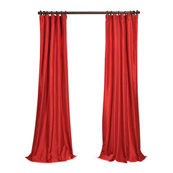 "Exclusive Fabrics & Furnishings, LLC - Hollywood Red Faux Silk Taffeta Curtain - 56% Nylon & 44% Polyester. 3"" Pole Pocket with Hook Belt. Lined. Interlined. Imported. Weighted Hem. Dry Clean Only. SOLD PER PANEL."