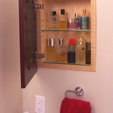 Recessed Picture Frame Medicine Cabinets with No Mirrors - Regular Espresso Concealed Cabinet with natural interior from ConcealedCabinet.com.  You insert your own artwork and change it as often as you like!