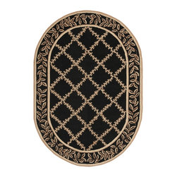 Safavieh - Safavieh Hand-hooked Trellis Black/ Beige Wool Rug (4'6 x 6'6 Oval) - Give your home an elegant touch with this hand-hooked wool rug. This rug features a contemporary floral/geometric pattern in beige and black. Constructed from authentic virgin wool,this piece is also equipped with a canvas backing.