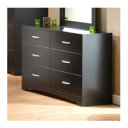 """South Shore - Back Bay 6 Drawer Double Dresser - South Shore's stylish and family-friendly furniture is made of laminated engineered wood, which gives it great strength and durability. They use wood panels entirely made from recovered and recycled material. While they do their share to preserve the environment by conserving our forests, South Shore Industries makes no compromise when it comes to quality and product durability. These quality products are designed for easy maintenance and offered at very competitive prices. This contemporary triple dresser provides a sleek and stylish addition to any bedroom. Its deep drawers and dark chocolate finish makes this a truly sophisticated piece of furniture. Features: -6 drawer dresser unit. -Constructed of particleboard with a laminate finish. -Sintec drawer glides (plastic glides - no wheels). -5-year manufacturer's limited warranty. -The inside of the drawers are particleboard only .-Includes two supports to help attach the Back Bay mirror. -Overall Dimensions: 32"""" H x 52"""" W x 16"""" D. About South Shore Industries: South Shore Industries Ltd. brings over 65 years? experience to the manufacturing of its furniture products and boasts a highly skilled production team with an eye for detail. A recognized leader in North American furniture manufacture, South Shore Industries was established in 1940 and has been making furniture for three generations. Employing a team of over 1000 employees in three factories in Quebec, their assembled and ready-to-assemble furniture has a reputation for quality and excellence at affordable prices for today's family. Protecting our Environment for Generations to Come! South Shore Furniture is proudly taking a stand on its environmental positioning and is supporting its words with very concrete actions and a vision for a healthy future. Current actions include: - Improved packaging ? Our new packaging use 60% less non-biodegradable materials.-Energy efficiency ? Yearly, 5 to 6 tons of wasted pan"""