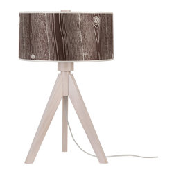 Lights Up! - Woody Table Lamp, Faux Bois Dark - Your style personality lights up any room. So, isn't it time your lamp followed suit? The tripod base on this funky table lamp is made from sustainably harvested wood and comes in your choice of black or pickled finishes. It holds one bulb and a dramatic drum shade available in several eye-popping colors, patterns and materials.