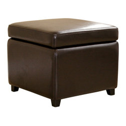 Baxton Studio - Baxton Studio Dark Brown Full Leather Small Storage Cube Ottoman - This cube storage ottoman is a versatile piece useful in any room of your home. This elegant ottoman provides styles and room to keep items out of sight yet close at hand to meet both your decorative and storage needs. Interior frame built to last with sturdy construction consisting of kiln dried hardwood, with high density foam padding and hinged lid for easy opening and closing. Durable polyurethane coated leather upholstery for longer lasting use and stain resists for easy clean up. Leg constructed with solid rubber wood with veneer finish completes with elegant smooth, clean lines design. The perfect combination of quality craftsmanship with simple and sophisticated designs, that will instantly enhance any room decor.