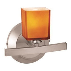 Access Lighting - Access Lighting Sydney Modern / Contemporary Wall Sconce with Square Glass X-BMA - The beveled backplate comes in a simple circular shape, adding contemporary appeal to this Access Lighting wall sconce. From the Sydney Collection, this contemporary wall sconce also incorporates a square glass shade with your choice of amber or opal coloring. Matte Chrome finishing compliments the blend of traditional and contemporary elements on the frame.