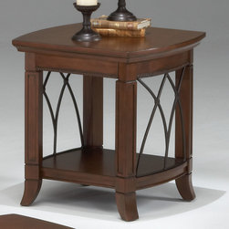 """Bernards - Cathedral Cherry with Metal End Table - This decorative end table is a delightful mixture of asian solids, cherry veneers and graceful cathedral shaped metal arches. Finished in a warm brown cherry finish with bead molding and carved posts.; Dimensions:21""""D x 23""""W x 24""""H"""