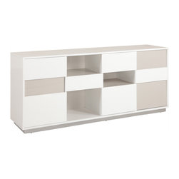 None - Contemporary Two-tone Buffet with Open Storage - Incorporate open storage into your home decor with this modern-inspired buffet piece. Crafted with wood and metal,this durable two-tone server features plentiful storage space for place mats,silverware,decorative accents and more.