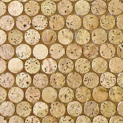CorkDotz Cork Mosaic Penny Round Tile - Forget ceramic tile, go for cork! CorkDotz penny round tiles from Modwalls are made from recycled cork stoppers. They can be used for kitchen backsplashes, floor installations, bathroom and ceiling tile. Stunning!