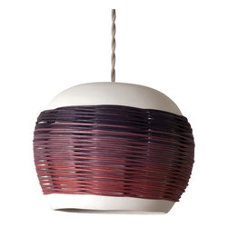 Pigeon Toe Ceramics - Woven Solo Pendant, Solid Plum - With an innovative mix of materials, our Woven Pendant makes a bold statement without overpowering. A large, gently curved porcelain shade is fused with hand-woven round reed in your choice of color (shown in Ombre Sienna/Plum/Black Indigo), suspended by a twisted grey cloth cord. Bulb, brass mounting hardware, and ceramic canopy included. Cord extends 42""