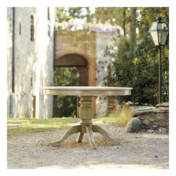 Caprice Pedestal Dining Table - Round tables are hard to find. This one has an amazing base.