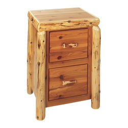 Fireside Lodge Furniture - Cedar 2 Drawer File Log Cabinet - Cedar Collection. 2 Drawers. Rods for hanging file folders. Full-extension ball-bearing glides rated to 100 lbs.. Northern White Cedar logs are hand peeled to accentuate their natural character and beauty. Clear coat catalyzed lacquer finish for extra durability. 2-Year limited warranty. 25 in. W x 22 in. D x 35 in. H (85 lbs.)