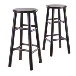 """Winsomewood - Set of 2, 30"""" Bevel Seat Stool, Assembled - Set of 2 solid wood 30""""bar stools with beveled seat in espresso finish. Rounded legs are sturdy; able to hold up to 200lbs. The beveled seat is contoured for comfort. The stools ship fully assembled."""