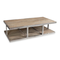 Kathy Kuo Home - Zanuso Industrial Reclaimed Elm Stainless Steel Rectangular Coffee Table - There's absolutely no reason why high gloss materials and matte finished natural wood can't work together, and this piece proves it. With subdued reclaimed elm for the surface and a seriously modern polished steel base with offset legs, this contemporary coffee table will deliver great unorthodox style for generations.