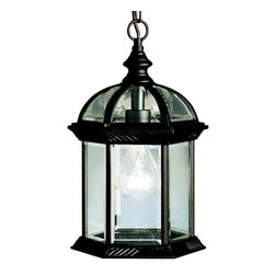 "Kichler Lighting - Kichler Lighting - 9835BK - New Street - One Light Outdoor Pendant - With its timeless profile, this 1-light hanging lantern is perfect for those looking to embellish classic sophistication outdoors. Because it is made from cast aluminum and comes in this beautiful Black finish, this hanging lantern can go with any home decor while being able to withstand the elements. It features clear beveled glass panels, uses a 100-watt (max) bulb, measures 8"" in diameter by 13"" high, and is U. L. listed for damp location."