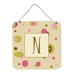 Caroline's Treasures - Letter N Initial Monogram - Tan Dots Aluminium Metal Wall Or Door Print - Great for inside or outside these Aluminum prints will add a special touch to your kitchen, bath, front door, outdoor patio or any special place.  6 inches by 6 inches and full of color.  This item will take direct sun for a while before it starts to fade.  Rust and Fade resistant.  Aluminum Print with Hanging Rope.  Rounded Corners.
