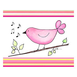 Oh How Cute Kids by Serena Bowman - Song Bird - Pink with Pink Strips, Ready To Hang Canvas Kid's Wall Decor, 11 X 1 - Each kid is unique in his/her own way, so why shouldn't their wall decor be as well! With our extensive selection of canvas wall art for kids, from princesses to spaceships, from cowboys to traveling girls, we'll help you find that perfect piece for your special one.  Or you can fill the entire room with our imaginative art; every canvas is part of a coordinated series, an easy way to provide a complete and unified look for any room.