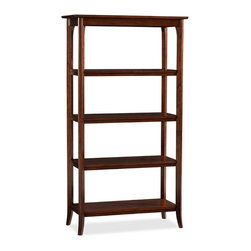 Chloe Bookcase, Mahogany Stain - An office needs a place for favorite books and trinkets. Several of these bookshelves will work.