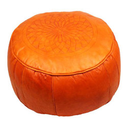 Star Lotus Orange Leather Pouf - Comfort and design go hand in hand with this authentic hand-made leather pouf. Thick, fire-orange leather sewn toughly around cotton batting, creating a durable and practical low seat or foot stool. This Star Lotus Orange Leather Poof can come stuffed or unstuffed, per your request, and has an easy-to-access zippered bottom opening for stuffing.