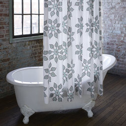 Bath Accents - Most people spend enough time in the bathroom to make it a space worth sprucing up a bit. This is a collection of our favorite block prints, blown up on sturdy cotton, and sure to perk up any bathroom.