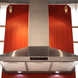 Kitchen Bath Collection - 36-in Stainless Steel Wall Hood by Kitchen Bath Collection - The 36-inch wall-mounted stainless steel range hood by Kitchen Bath Collection features a two-piece adjustable chimney with sleek curved edges, no visible welded seam on any of the three faces of the chimney, touch screen control panel, two LED lights, and three speed settings. It includes a flexible aluminum duct for easy attachment to the wall or ceiling, aluminum micro-cell grease filters (dishwasher friendly), a UL-certified motor, and charcoal carbon filters for optional vent-less installation (no additional kit required). Made from high quality 304 stainless steel.
