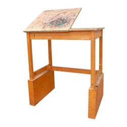 Pre-owned Unique Vintage Art Table with Adjustable Easel - Really unique vintage art tables! Four available. Please contact support@chairish.com in order to purchase multiples.    Tall design, so you can stand or sit on a stool. 3 foot by 2 foot flat work area. 2 foot by 2 foot easel that adjusted to any angle you need, leaving a 1 foot by 2 foot flat space for your supplies. Wonderful design. beautiful patina from years of use!