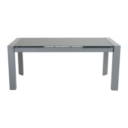 """Euro Style - Dario Dining Table - This table thought of everything. It has two extension leaves that add up to as much as 71"""" in width. Two of the legs have rollers.  And to top it off, the tempered glass top has a great contemporary look.  Matte gray!"""