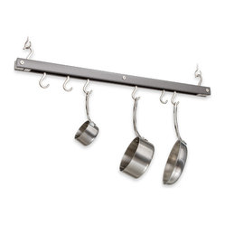 J.K. Adams - Bar Pot Rack, Gray - Don't let a small kitchen cramp your culinary style. This hanging rack puts your must-have, most-used pots, pans and utensils within easy reach. Just grab 'em and get cooking.