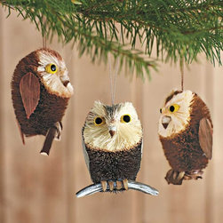 "Viva Terra - Brushy Owl Ornaments (set of 3) - Created by hand from abaca plant fibers, rattan and palm, these three smart owls, each different, lend a natural, woodsy touch to your tree decorations.APPROX 4.25""H"