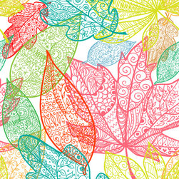 Leaves Wallpaper - Add a colorful one of a kind feel to any wall! Our canvas material is completely removable and repositionable. Protect your walls with no hassle, and no paste.