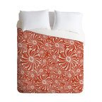 DENY Designs - Heather Dutton Bursting Bloom Spice Queen Duvet Cover - Wake up on the bright side of the bed with this fun duvet cover. Made from soft woven polyester, it features custom-printed oversize whirling blooms in white on a spicy orange background. Pop in your favorite duvet, zip the hidden zipper and rest easy.