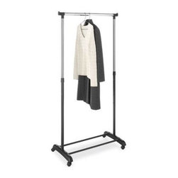 Whitmor - Adjustable Garment Rack - Organize your clothes  while not taking up much floor space with the Whitmor Adjustable Garment Rack. Perfect for dorm rooms  bedrooms  laundry rooms  or anywhere additional storage is needed  this rack can be used to store your clothes and shoes at the same time. Use the top bar to hang your clothes and the bottom bars as a shoe holder. Made from high-quality steel with chrome plating  this garment rack will last for many years. The steel garment rack comes in a chrome and black finish which is sure to add style to any room. It also includes wheels to enable easy mobility around your home. Easy to assemble  this chrome garment rack also has adjustable height options to accommodate your growing storage needs.  This item cannot be shipped to APO/FPO addresses. Please accept our apologies.