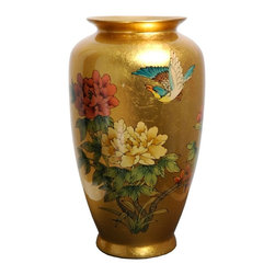 Oriental Unlimited Inc - Oriental Unlimted 12H in. Gold Tung Chi Porcelain Vase - POR-TCV-GB - Shop for Decorative Bowls and Vases from Hayneedle.com! Oriental Unlimted 12H in. Gold Tung Chi Porcelain Vase