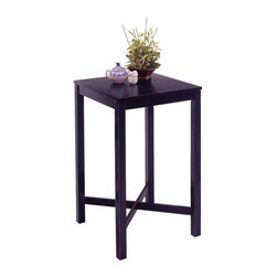 HomeStyles - Square Bar Table in Black - Modest and refined, this Asian style black veneered wood bar table will add big impact in a little space. Why not create a relaxing retreat for two with optional matching contoured backless stools? This style satisfies both taste and budget. You will be enchanted by how well this black veneer wooden pub table enhances the look of your home. The solid wood frame and black finish make a stylish statement, and the optional slat seat stools can complete the look beautifully. * Veneer top. Contoured shaped seat for comfort. Clear coat finish helps protect against wear from normal use. Made from Asian hardwood. Made in Thailand. Minimal assembly required. Stool: 15.75 in. W x 13.75 in. D x 29 in. H. Table: 26.75 in. W x 26.75 in. D x 45 in. HThis bar table with its clean lines is designed to easily coordinate with many decorating schemes and scaled for even the smallest of spaces.