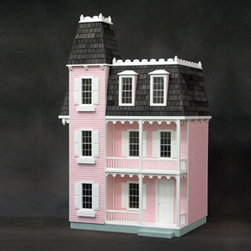 "Real Good Toys - Finished Alison Dollhouse in Pink - You simply take it out of the box and start furnishing! This dollhouse is built and finished by expert craftsmen, using only high quality materials. Features: -9 Rooms. -1/4"" & 3/8"" floors finished and stained . -Front Step arrives unattached and must be glued into place. -Painted interior trim, doors, stairs with banister and landing rails . -Rooftop tower arrives unattached and must be glued into place . -Silk-Screened non-working windows with shutters as shown -Stained wooden roof shingles . -Sturdy 3/8"" MDF exterior walls with clapboards milled directly into them . -Wallpapered interior (may vary) . -Windows include interior trim . -Working interior and exterior doors . -Scale: 1 = 1' . -Overall dimensions: 38.5"" H x 24"" W x 16.5"" D"
